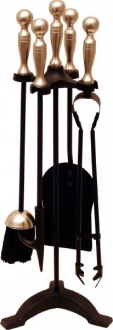 Ball Top Companion Set Black & Satin Nickel