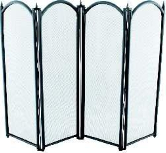 4 Fold Black Fire Screen