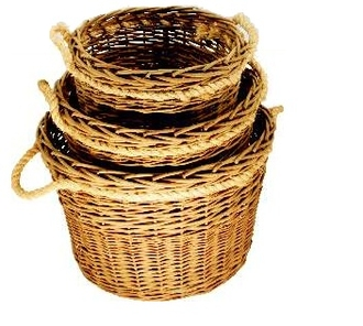 Green Willow Log Basket Set