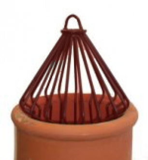 Conical Crow Decorative Bird Cowls - Terracotta