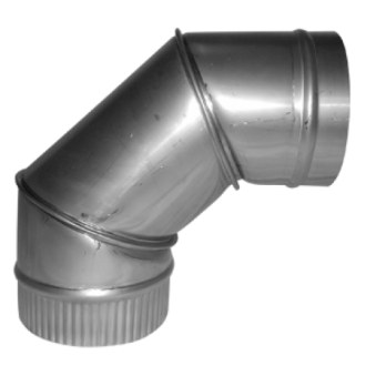 "90 Degree Multifuel Stainless Steel Pipe Elbow 6"" (150mm)"
