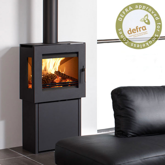 Westfire Uniq 23 6.1kw Side Glass Defra Stove Pedestal Two