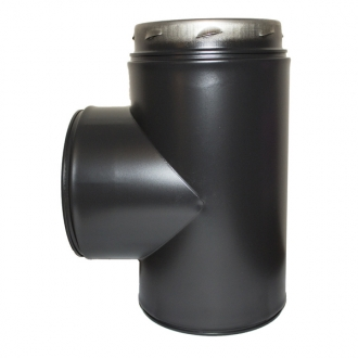 "6"" (150mm) 90 Degree Tee Inc Locking Band Sflue Black"