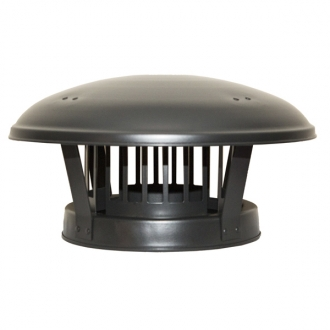"6"" (150mm) Rain Cap Birdguard Inc Locking Band Sflue Black"