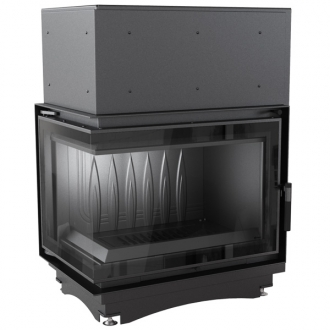 Kratki Zuzia 16kw Inset Stove - Left Side Glass Black Glass Edge