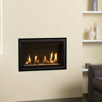 Gazco Studio 1 Slimline 3.8kw Gas Fire with Balanced Flue, White Stones and Vermiculite Lining