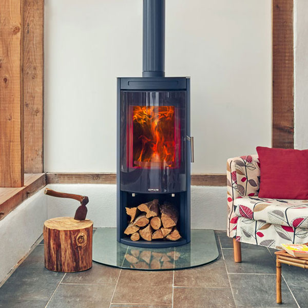 Opus Melody 5kw Wood Burning Stove With Log Store U0026 Glass Door